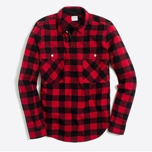 JCrew 1/4 Zip Buffalo Check Shirt